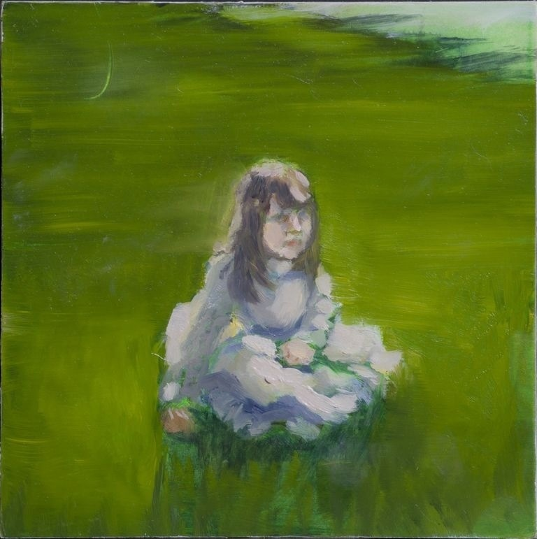 "Little Miss Havisham Age 3 8""x8"", Oil on board, 2011"